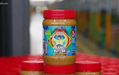 Image of Lidl's limited edition Bean Peanut Butter with a tie dye design and a picture of Bean