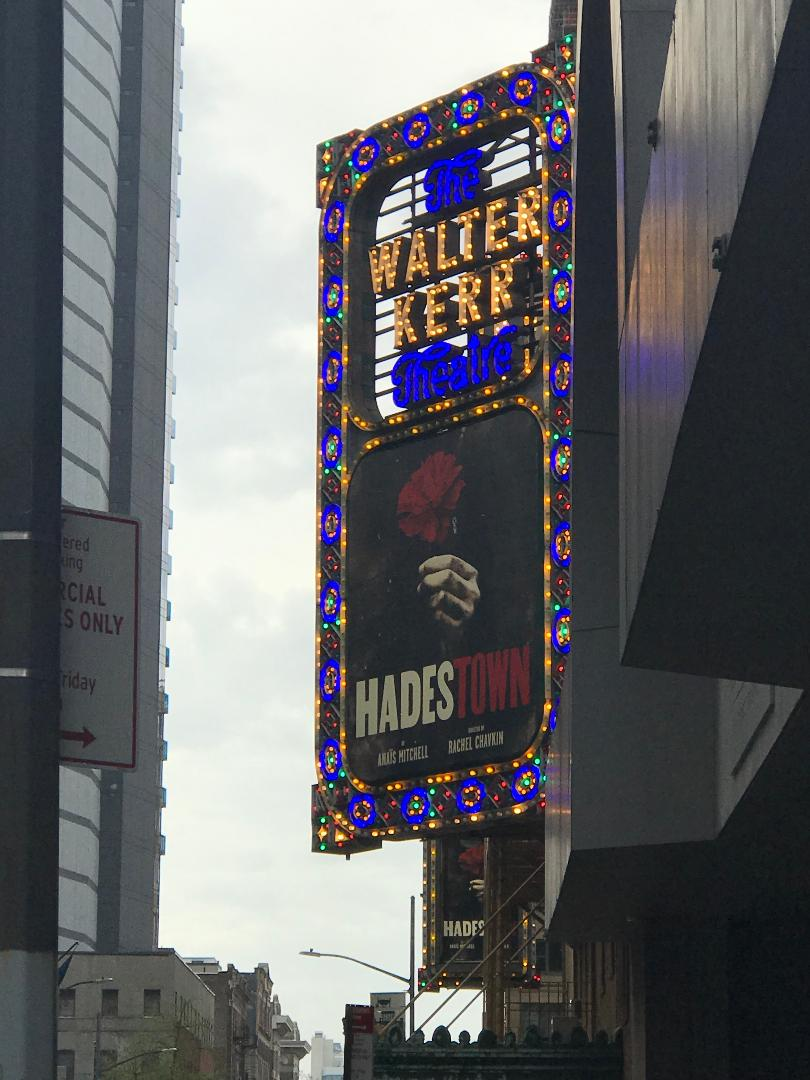 The marquee for Hadestown on Broadway.