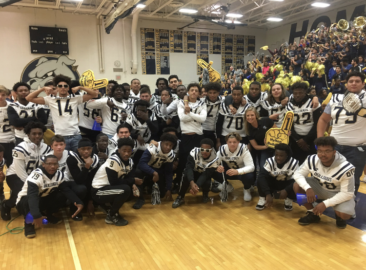 The Hylton football players at the pep rally!