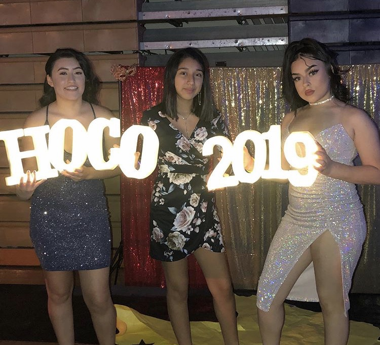 A group of girls at homecoming holding a 'hoco 2019' sign.