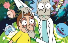 Cartoon characters Rick and Morty in front of a chaotic background