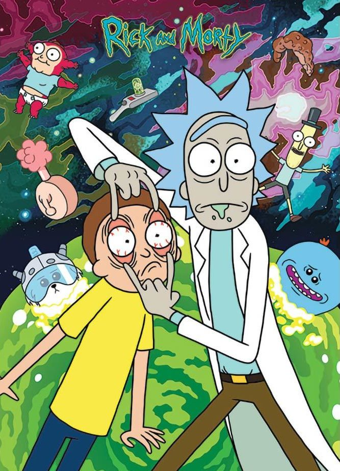 Rick and Morty in front of a chaotic background.