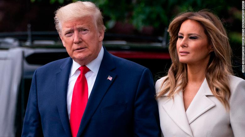WASHINGTON, DC - MAY 25: U.S. President Donald Trump and First Lady Melania Trump depart from the White House in Washington, DC for a Memorial Day ceremony at the Fort McHenry National Monument and Historic Shrine in Baltimore, on May 25, 2020. (Photo by Sarah Silbiger/Getty Images)