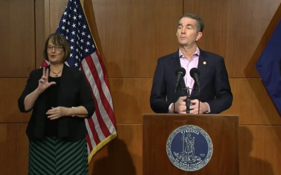 Governor Northam at February 5, 2021 news conference announcing the return-to-learning plan for March 2021.