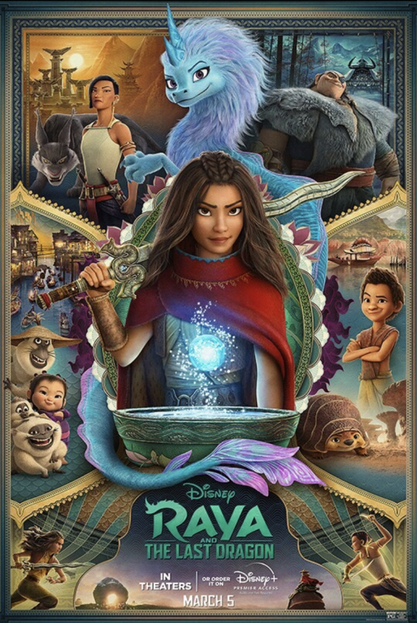 Raya and the Last Dragon released movie poster with its characters.